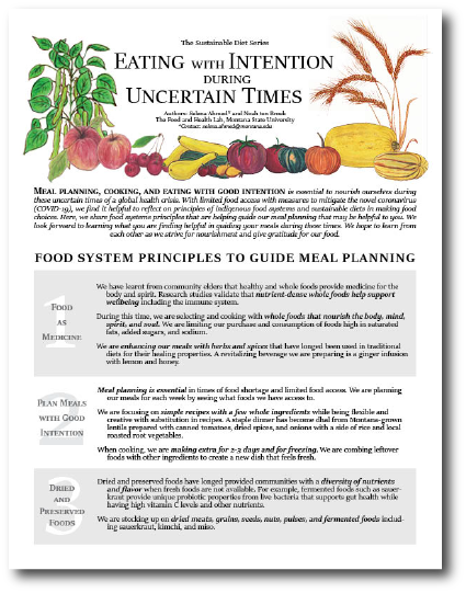 "An image of the first page of the 'Eating with Intention during Uncertain Times"" fact sheet"