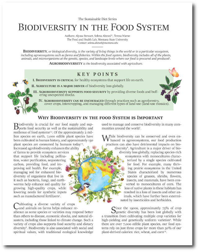 Image of the first page of the Biodiversity fact sheet