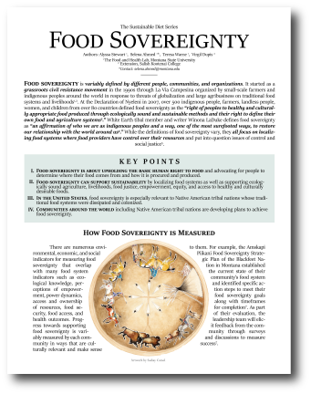 First page of the 'Food Sovereignty' fact sheet