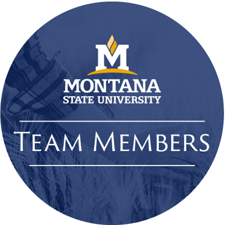 An Icon with Montana State University logo and the words 'Team Members', all in a blue circle with a photo of a person's hand in a field in the background