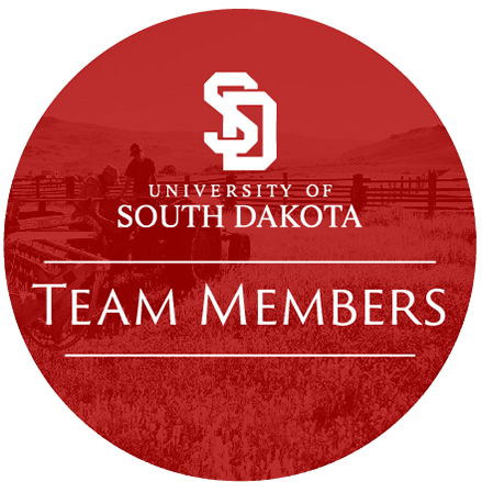 Icon with the University of South Dakota logo and the words 'Team Members', all in a red circle with a photos of a person on a tractor in the background