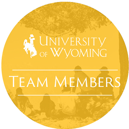 Icon with the University of Wyoming logo and the words 'Team Members', all in a yellow circle with a photos of people sitting under a tree in the backround