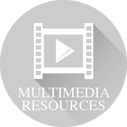 Icon of multimedia and the words 'Multimedia Resources'