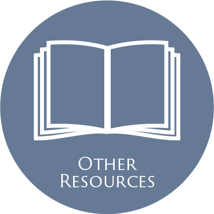 icon of an open book and the words 'Other Resources'--all in a blue circle