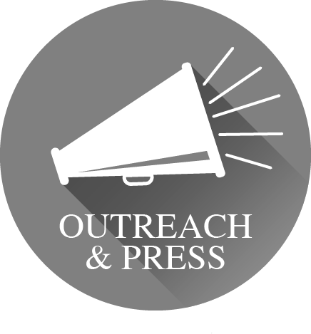 "The words 'Outreach & Press"" with an icon of a megaphone"