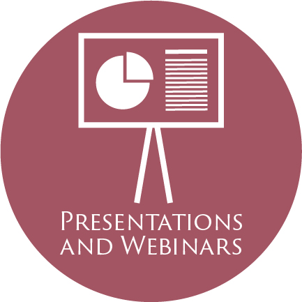 icon of a presentation with a pie chart and the words 'Presentations and Webinars'--all in a maroon circle