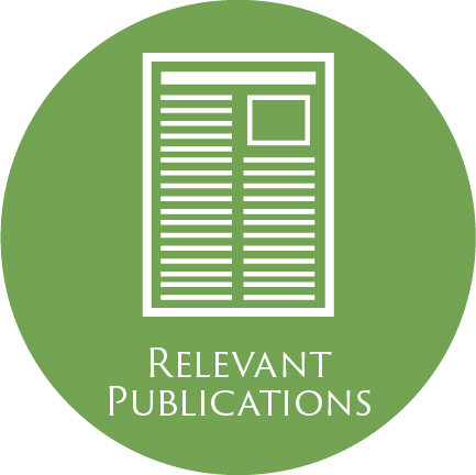icon of a publication such as a newspaper or an article and the words 'Relevant Publications'--all in a green circle