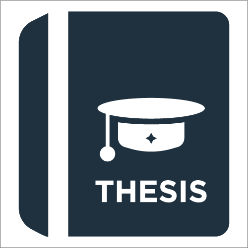 "icon of a book and a graduation hat and the word ""thesis"""